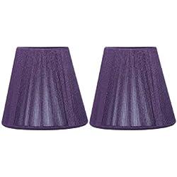 "Urbanest Purple String Mini Chandelier Lamp Shade, 3x5x4.5"", Hardback, Clip On, Set of 2"