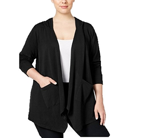 Style & Co Plus Size Open-Front Hooded Cardigan 2X Black