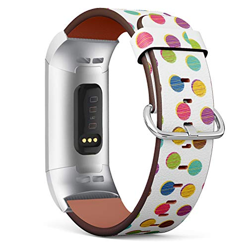 Compatible with Fitbit Charge 3 - Replacement Accessory Leather Band Strap Bracelet Wristbands with Adapters (Colorful Polka Dot)