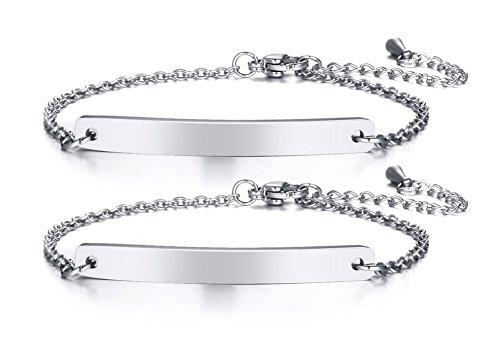 VNOX Personalized Dainty Bar Stainless Steel Link Friendship Adjustable Bracelet for Women Girl,2Pcs Set
