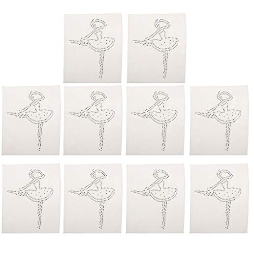 - Ballet Girl Bead Hotfix Rhinestone Iron on Crystal Applique Cloth Decoration | Size - Ballet Girl