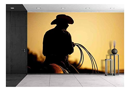 Added Notes - wall26 - Cowboy with Lasso Silhouette at Small-Town Rodeo. Note: Added Grain. - Removable Wall Mural | Self-Adhesive Large Wallpaper - 100x144 inches