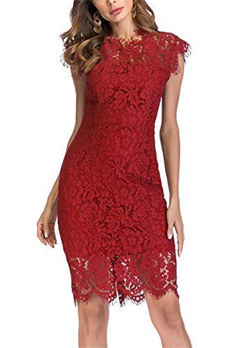 Women's Sleeveless Floral Lace Slim Evening Cocktail Mini Dress for Party DM261 (Red, -
