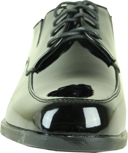 Vangelo Män Smoking Sko Tux-7 Mode Moc Tå Med Skrynkelfritt Material Black Patent 16w