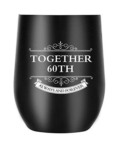60th Anniversary Gifts for Men Women Wife Husband Couple, Together Always and Forever, Personalized Wine Tumbler with Lid for Christmas Valentines Day (60th Tumbler)