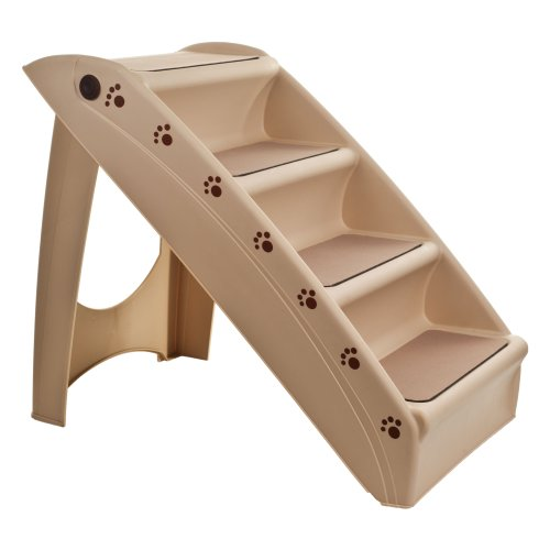 PETMAKER Folding Plastic Pet Stairs Durable Indoor or Outdoor 4 Step Design With Built-in Safety Features For Dogs Cats Home Travel – TAN