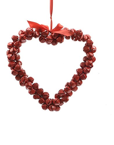 Christmas Heart Wreath.14 Alpine Chic Red Heart Shaped Jingle Bell Decorative Christmas Wreath