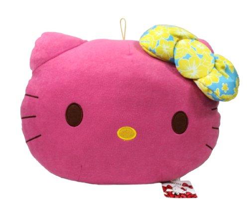 Hello Kitty Plush Head - Hello Kitty Hibiscus Ribbon Chubby Head Cushion - 14