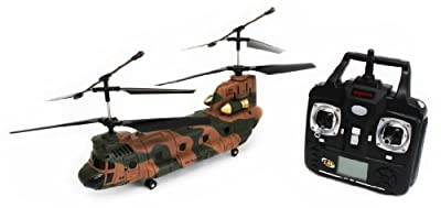 Sky-Botz Syma 3 Channel Flying Chinook Model R/C Helicopter with LCD Control Screen, Army Camouflage