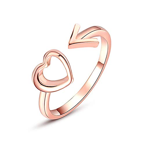 Weiy Fashion Creative Hollow Heart Arrow Design Open Ring Gorgeous Charming Elegant Adjustable Band Ring Jewelry Accessories Gift for Women Girls