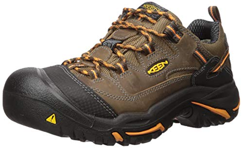 KEEN Utility - Men's Braddock Low (Soft Toe) Work Boot, Cascade/Orange Ochre, 10 D