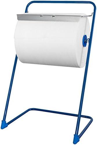 profi-x Putztuchrollenhalter mit Abrissschiene, Metall blau, für Rollen bis 400 x 500 mm, 1 Stück