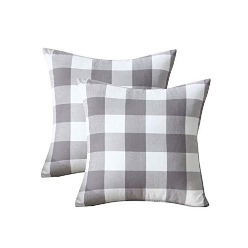 Checkered Pillow (2 Pack,Natural Washed Cotton Gray White Checkered Plaid Pattern Cotton Linen Square Throw Waist Pillow Case Decorative Cushion Cover Pillowcase Sofa 18