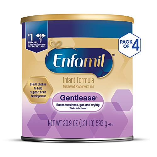 Enfamil Gentlease Infant Formula - Clinically Proven to reduce fussiness, gas, crying in 24 hours - Powder Can, 20.9 oz (Pack of 4)