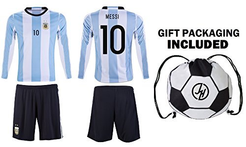 check out 4b1f6 cee97 JerzeHero Argentina Messi #10 Kids Youth Soccer Gift Set ✓ Soccer Jersey ✓  Shorts ✓ Soccer Ball Drawstring Bag ✓ Home Or Away ✓ Short Sleeve ...