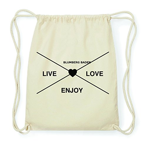 JOllify BLUMBERG BADEN Hipster Turnbeutel Tasche Rucksack aus Baumwolle - Farbe: natur Design: Hipster Kreuz