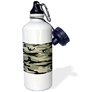 """3dRose wb_157595_1 """"Khaki army print-brown beige olive green camo-soldier military camouflage texture"""" Sports Water Bottle, 21 oz, White"""
