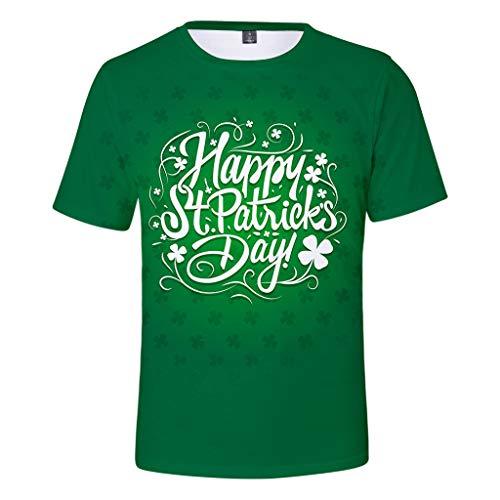 Birdfly Men Women's St. Patrick's Day Green Printing Short Sleeved O-Necked T-Shirt Tops ()