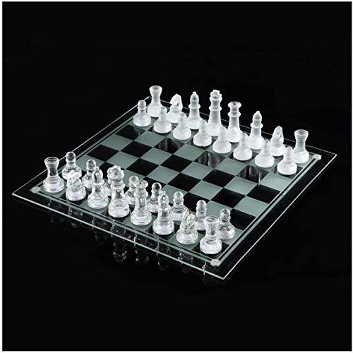 Siunwdiy Juego de ajedrez de Cristal Esmerilado Pulido Conjunto Vidrio Tablero l Conjunto dajedrez con Adultos Acolchado…