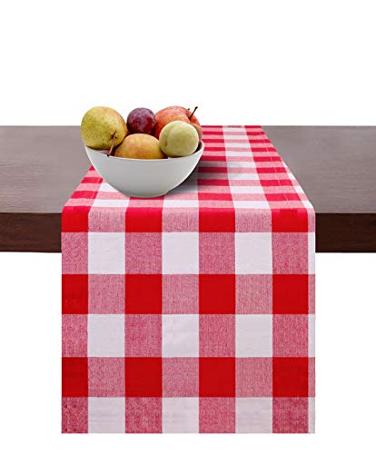 Cotton Clinic Set of 2 Gingham Buffalo Check Table Runners Farmhouse 90 Inch, 14x90 Cotton Wedding Table Runners, Rustic Bridal Shower Decor Dining Table Runners Red White