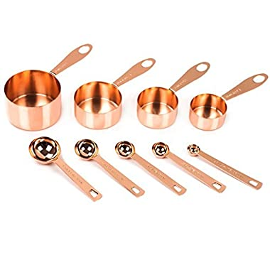 Copper Measuring Cups and Spoons, Set of 9: Copper-Plated Top-Quality Stainless Steel. Satin, and Mirror Polish. Engraved in Both US and Metric ml Measurements. Stackable. Copper Finish / Rose Gold