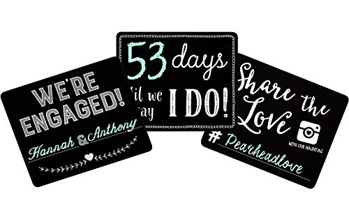 (Pearhead Wedding Countdown Set, Black, Perfect Photo Sharing Prop for Your Engagement Announcement Chalkboard Signs,)