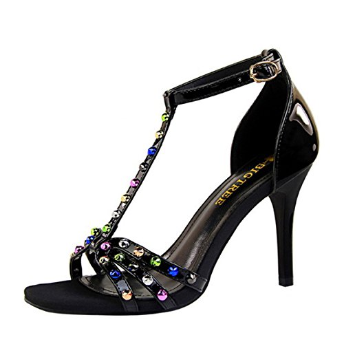 Women Pumps, Sexy Colourful Crystal T-word Buckle Open Toe Sandal Shoes