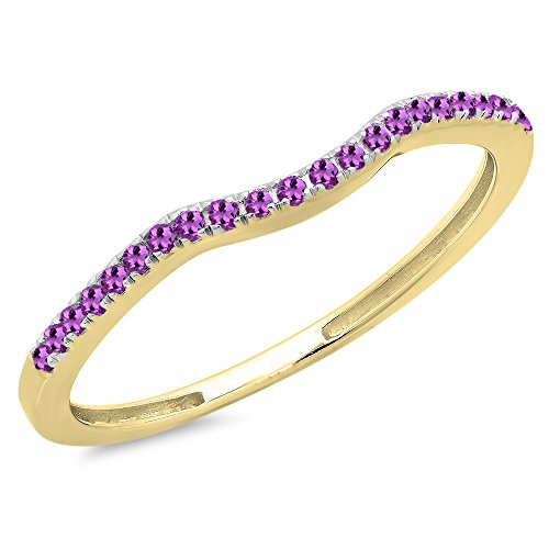 DazzlingRock Collection 0.15 Carat (ctw) 10K Yellow Gold Round Amethyst Anniversary Ring Wedding Guard Band (Size 6.5) ()