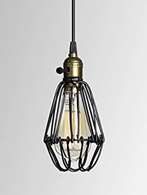 Permo Black Metal Vintage Style Industrial Opening and Closing Hanging Light Pendant Wire Cage Lamp Guard with Edison Bulb