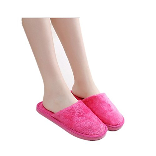 Slippers,Woopower Women Men Long Plush Cotton Shoes Home Indoor Winter Slippers (Female) Rose Red