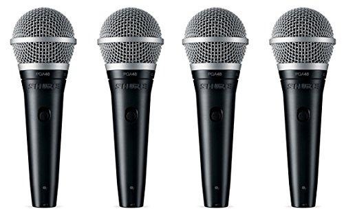 Classic Cardioid Dynamic Microphone - Shure PGA48-XLR Vocal Microphone w/XLR-XLR Cable (4 Pack)