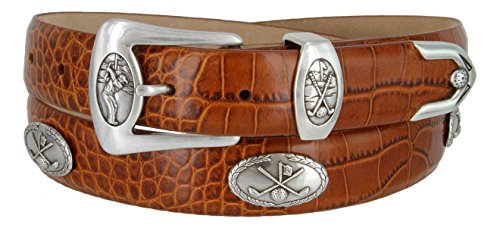 (BC3109 - Men's Italian Calfskin Designer Dress Belt with Golf Conchos (38 Alligator Tan))