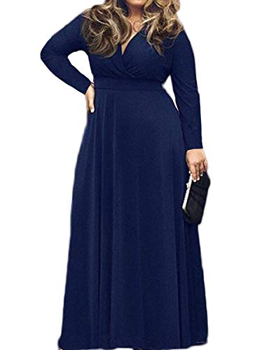 POSESHE Women's Solid V-Neck Long Sleeve Plus Size Evening Party Maxi Dress (2X-Large, Dark Blue)