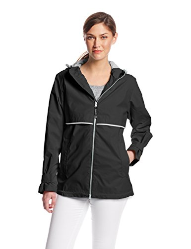 (Charles River Apparel Women's New Englander Waterproof Rain Jacket, Black, XXL)