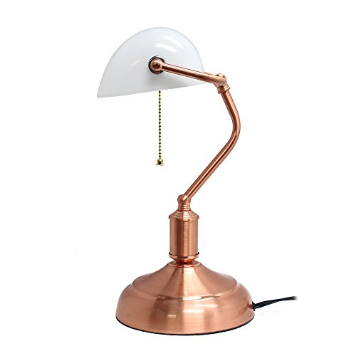 Simple Designs Home LT3216-RGD Simple Designs Executive Banker's Desk Lamp with White Glass Shade, Rose Gold