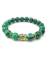 Konov Jewelry Malachite Mens Womens Bracelet, 10mm Natural Energy Gemstone Buddha Mala Yoga Bangle, Green Gold, with Gift Bag, C25102