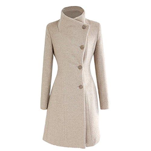 Abrigo para mujer de Nonbrabd, doble botonadura, chaqueta larga de invierno estilo vintage, tallas L M S XS Beige