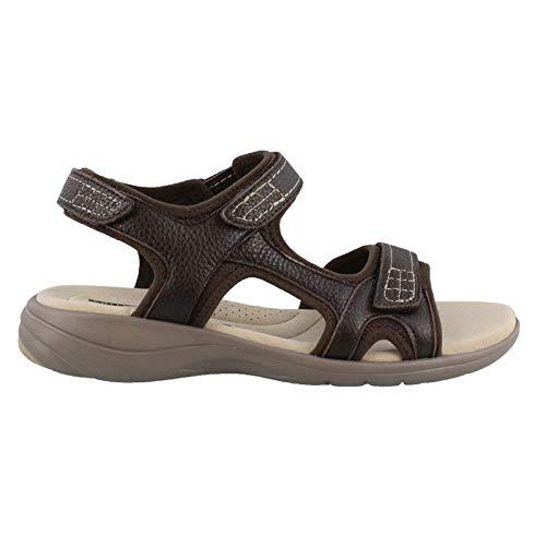 CLARKS Women's Saylie Jade Sandal, Brown Tumbled Leather, 6 Wide - Bat Jade