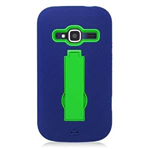 Green Blue Stand Dual Layer Hard Soft Cover Case for ZTE Concord 2 II Z730