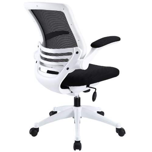 white frame office chair. Amazon.com: Modway Edge Mesh Back And Black Seat Office Chair With White Base Flip-Up Arms - Ergonomic Desk Computer Chair: Kitchen \u0026 Dining Frame