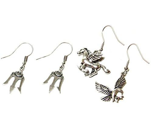 Outlander Gear Percy Jackson Movie Theme Pegasus/Eagle & Trident (2-Pair) Cute Girl Dangle Charm Earrings w/Gift Box
