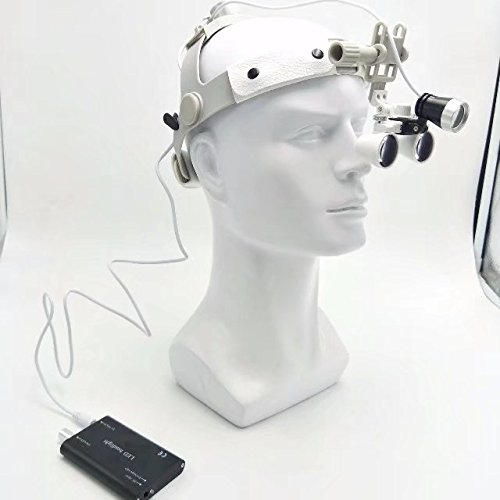 EAST Dental 2.5X420mm White Color Binocular Loupe Surgical Leather Headband Glasses+3W LED Headlight by East Dental (Image #5)