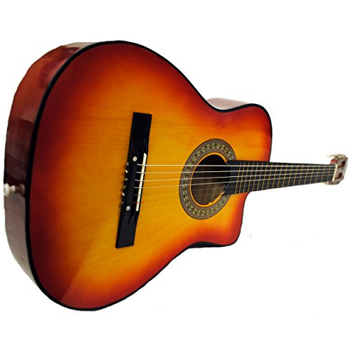 Full Size Acoustic Country/Bluegrass Cutaway Guitar with Gig Bag (Cherry Sunburst)