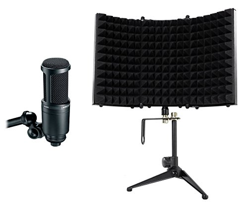 - Audio Technica AT2020 Studio Recording Microphone Condenser Mic+Isolation Shield