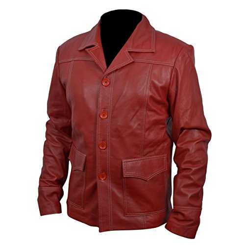 Leather Madness Brad Pitt Tyler Durden Fight Club Red Genuine Leather Jacket Lm007