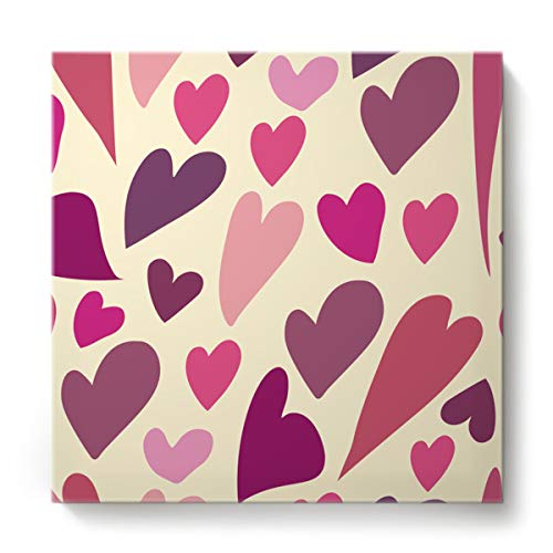 EZON-CH Canvas Wall Art Square Oil Painting Modern Artworks Office Home Decor,Simple Heart-Shaped Happy Valentine's Day Canvas Artworks,Stretched by Wooden Frame,Ready to Hang,24 x 24 Inch ()