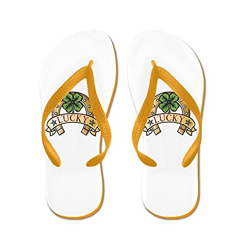 Truly Teague Kid's Lucky Horseshoe with Four Leaf Clover Orange Rubber Flip Flops Sandals 9-11 ()