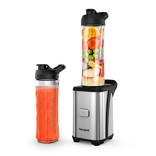 Homgeek Personal Mini Blender Smoothie Maker, Smoothie Single Serve Blender Portable Juicer Cup, Electric Power Mixer Fruit and Vegetable Single Serve,with Travel Lid and 2 Tritan Travel Sport Bottle