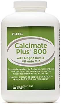 GNC Calcimate Plus 800 with Magnesium & Vitamin D-3, 500 Caplets, Supports Bone Density