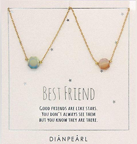 Best friend necklace, BFF Necklace, friendship necklace for 2, Gold dainty necklace, simulated gemstone necklace, valentines day